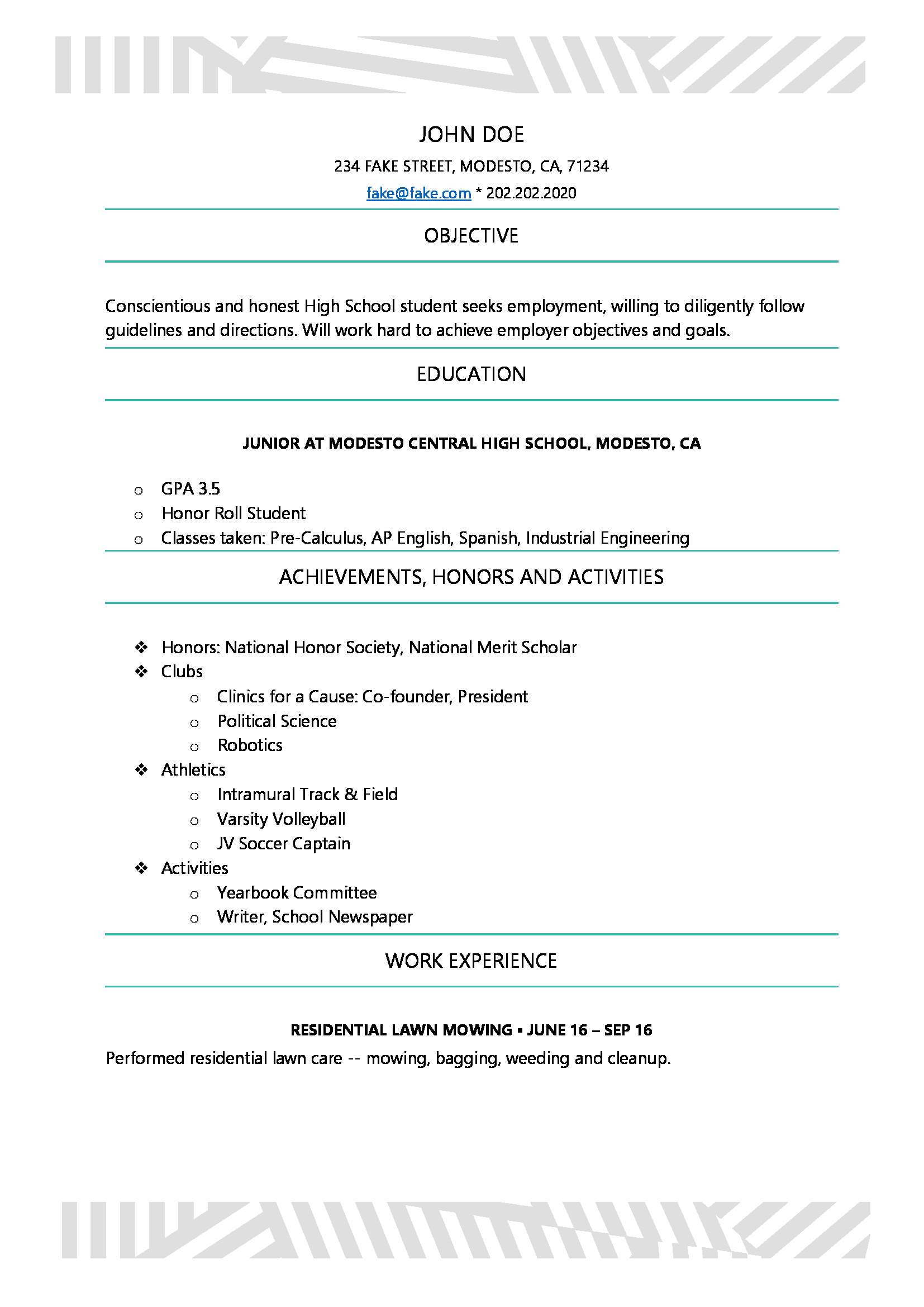 High School Resume - High School Resume Templates