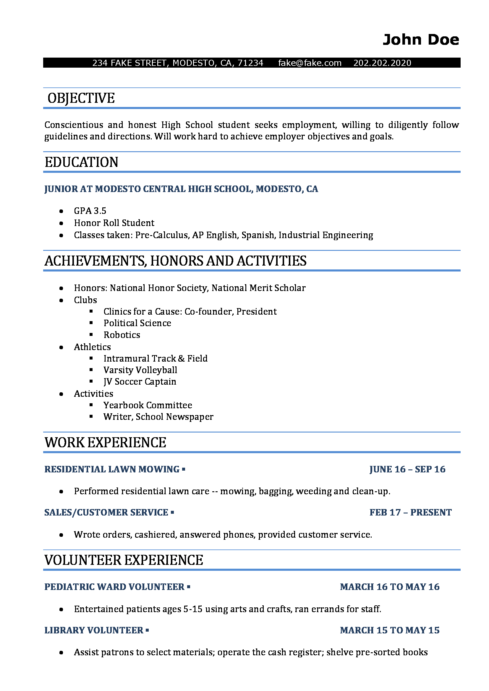 High School Resume  Resumes Perfect
