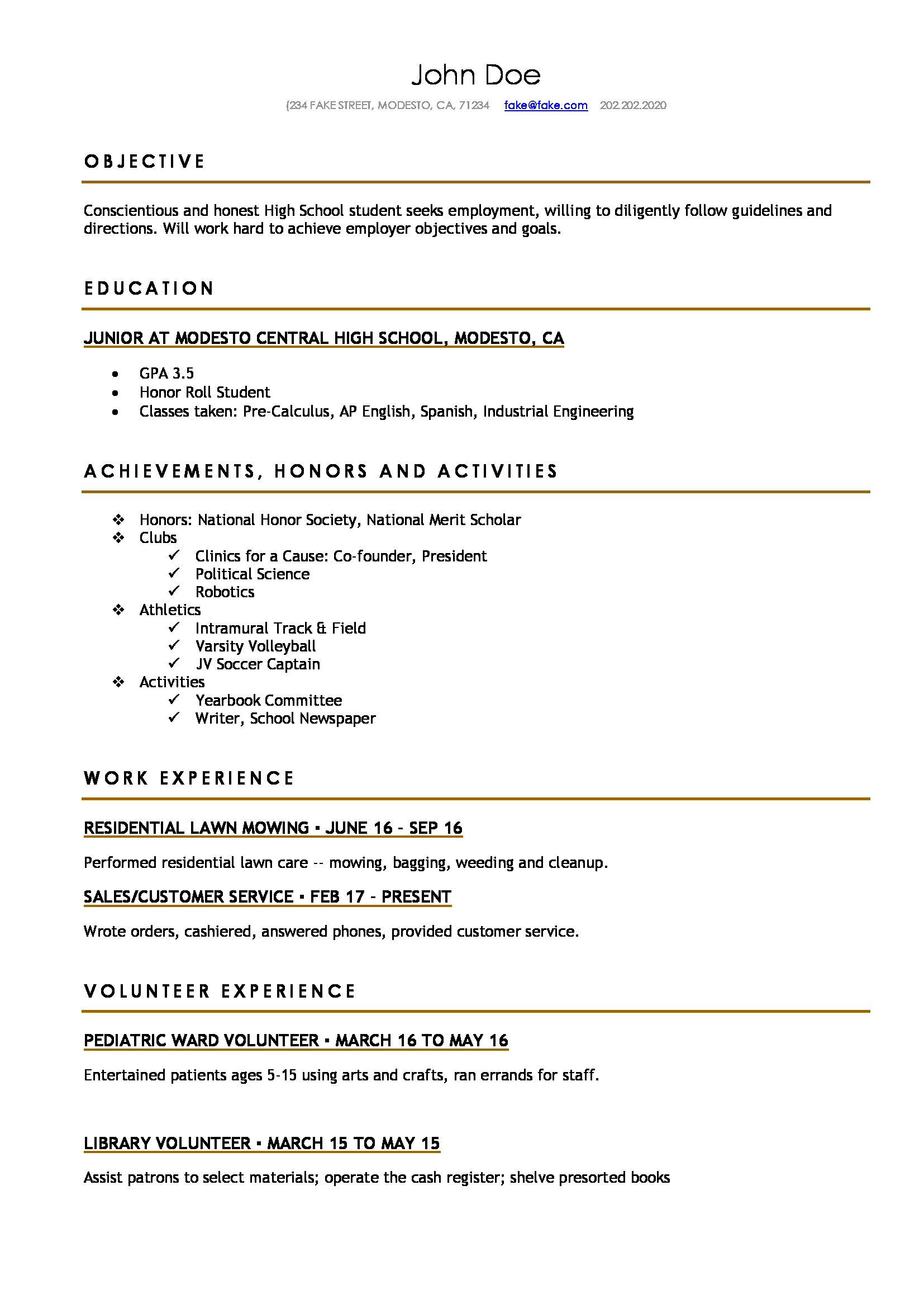 high school resume resumes perfect for high school students
