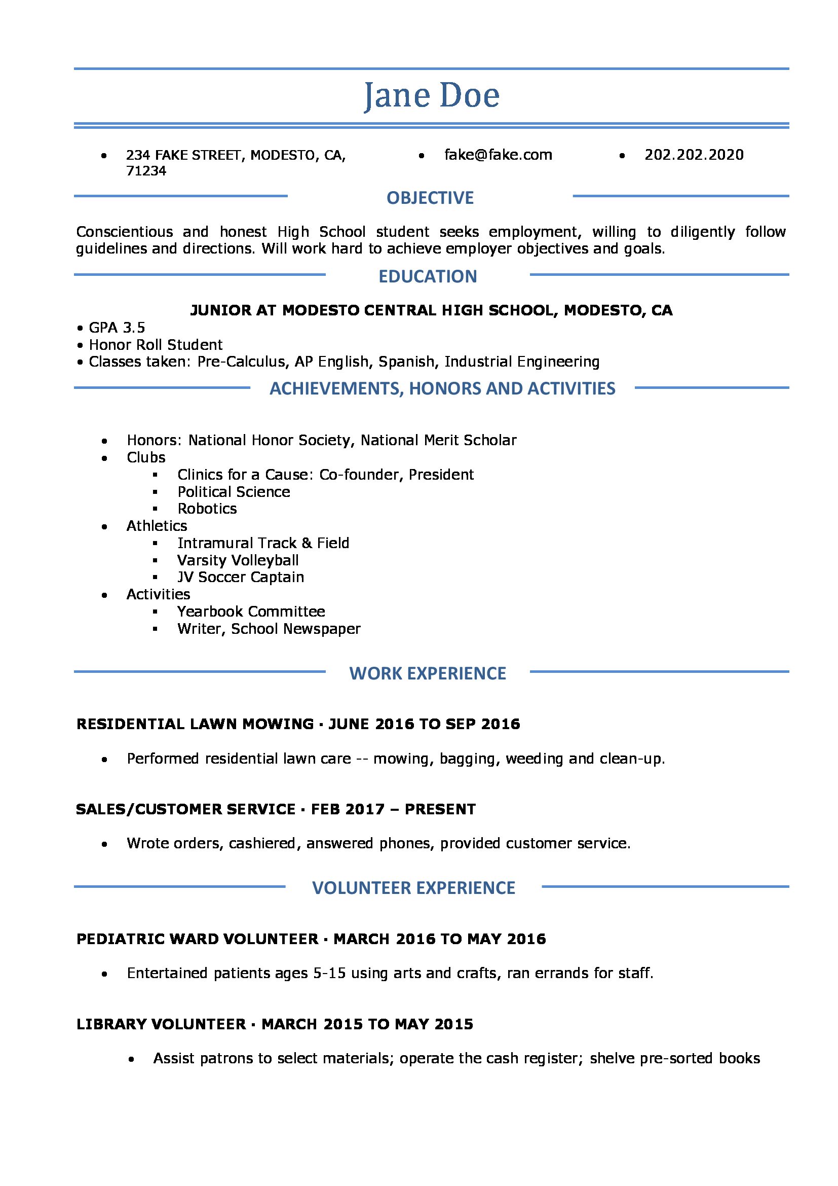 select - School Resume Template