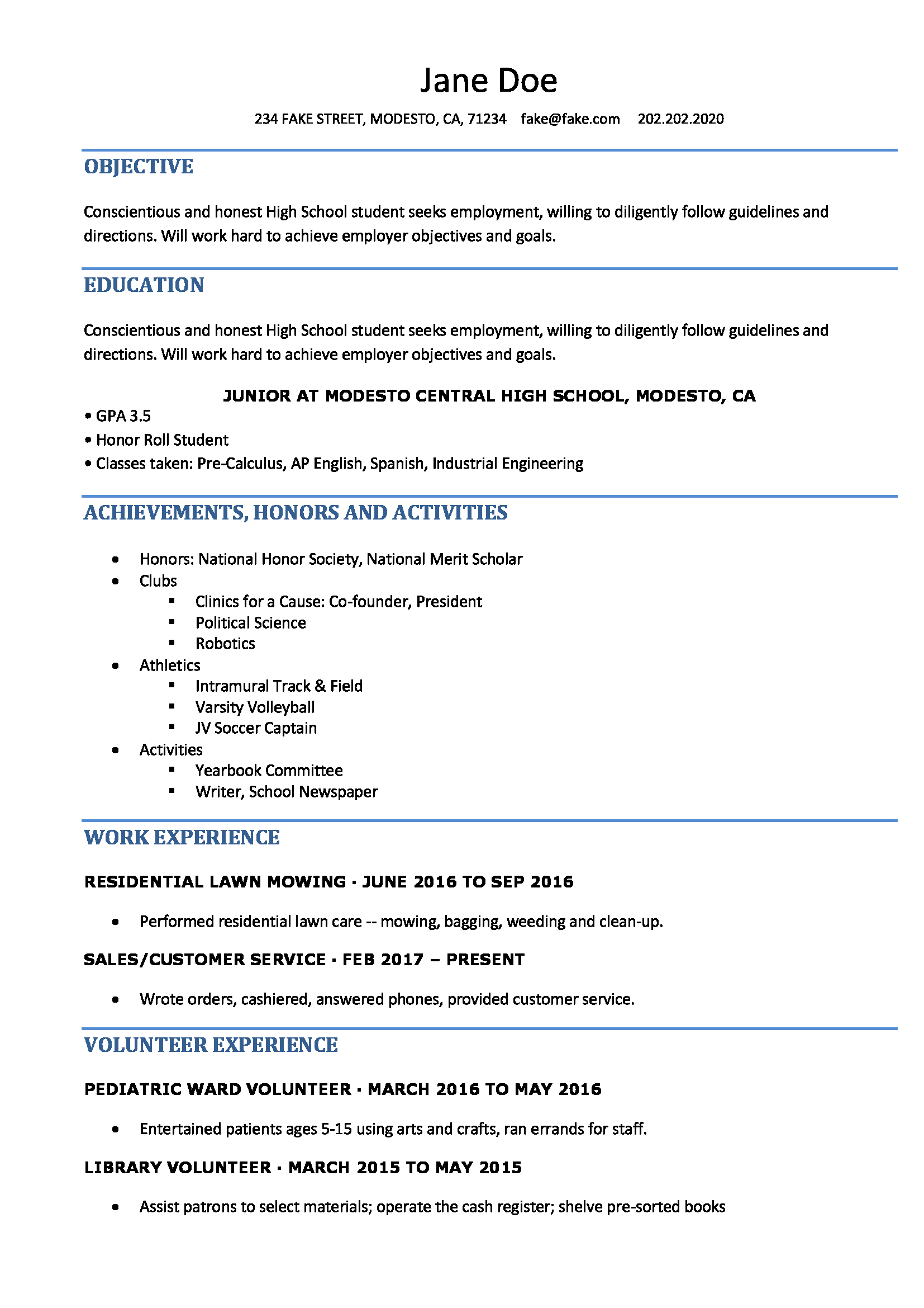 resume format high school